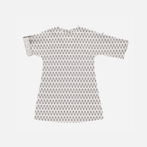 Organic Cotton Leonora Dress - Steel Grey Flower