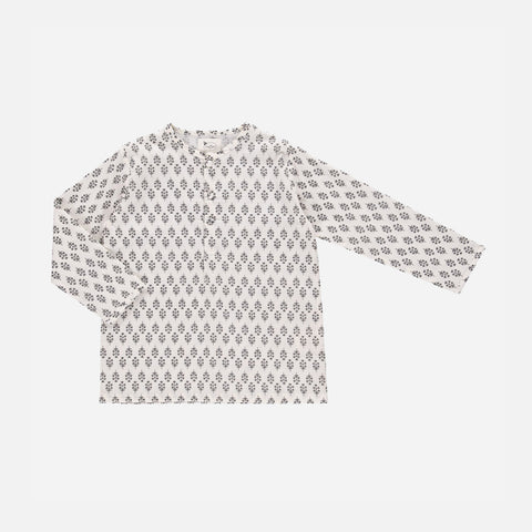 Organic Cotton Liam Shirt - Steel Grey Flower Print