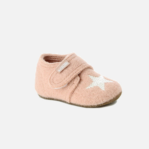 Velcro Wool Slipper Star Shoe - Rose Cloud
