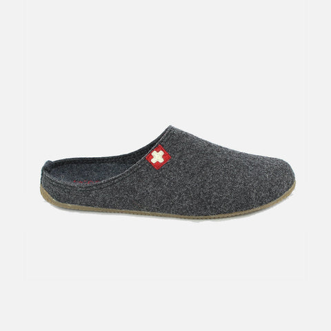 Adult Boiled Wool Swiss Cross Slippers - Anthracite
