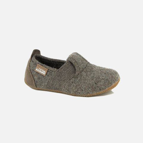 Wool Slipper Shoe With Elastic - Brown Melange