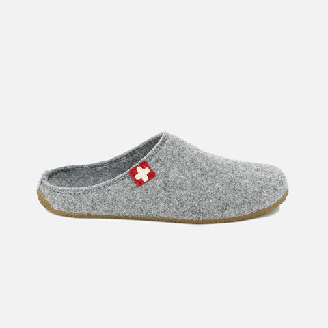 Adult Boiled Wool Swiss Cross Slippers - Grey
