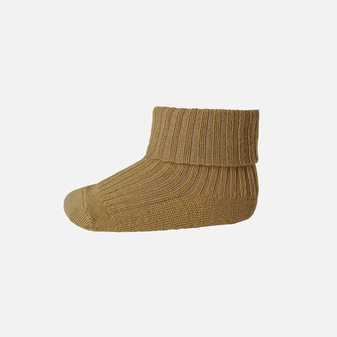 Wool Rib Ankle Socks - Mustard