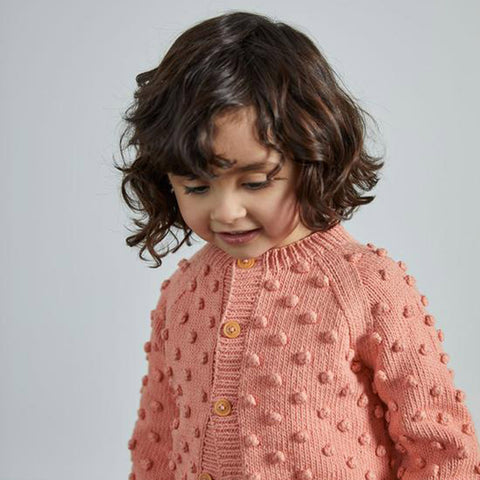 Cotton Hand Knit Summer Popcorn Cardigan - Coral