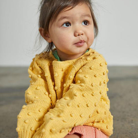 Cotton Hand Knit Summer Popcorn Sweater - Sunflower