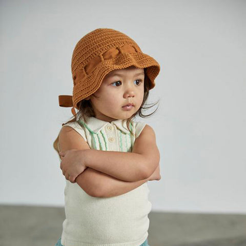 Cotton Hand Knit Sunbonnet - Caramel