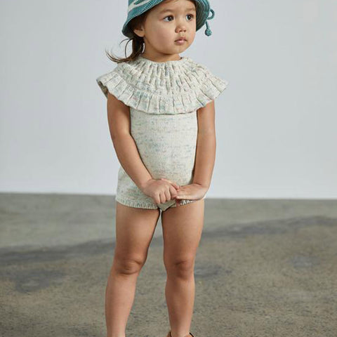 Cotton Hand Knit Smocked Romper - Faded Space Dye