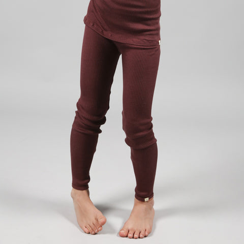 Silk/Cotton Bieber Rib Pants - Mahogany