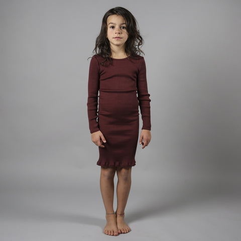 Silk/Cotton Long Sleeve Bina Dress - Mahogany