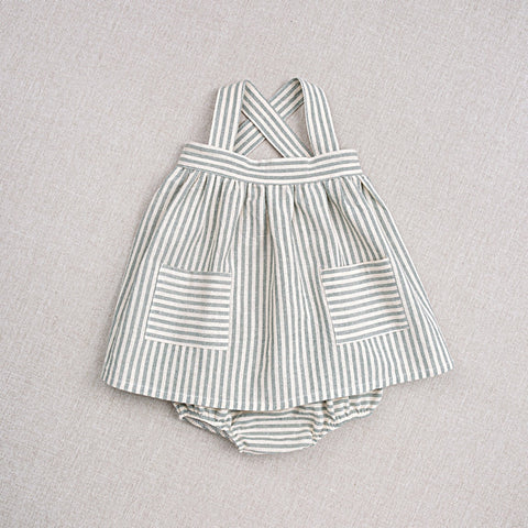 Cotton Hand Woven Ida Baby Dress & Bloomers - Teal Stripe