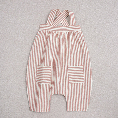 Cotton Hand Woven Ida Baby Overall - Rose Stripe