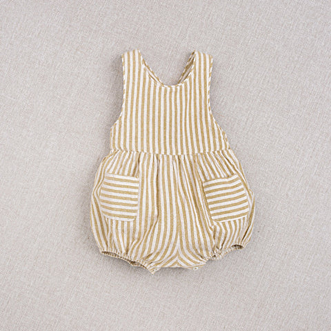 Cotton Hand Woven Zoé Baby Romper - Yellow Stripe