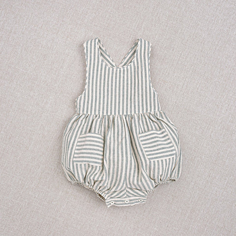 Cotton Hand Woven Zoé Baby Romper - Teal Stripe