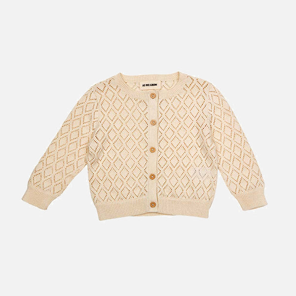 Organic Cotton Diamond Cardigan - Cream