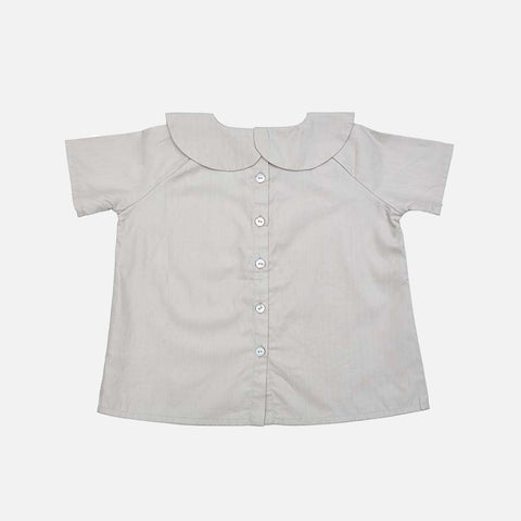 Cotton Peter Pan SS Shirt - Light Beige