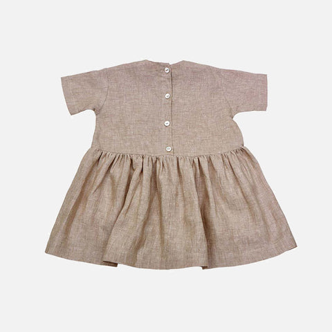 Linen SS Pocket Dress - Beige