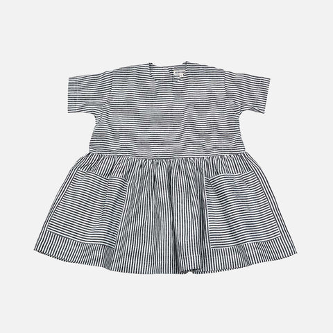 Linen SS Pocket Dress - Grey Striped