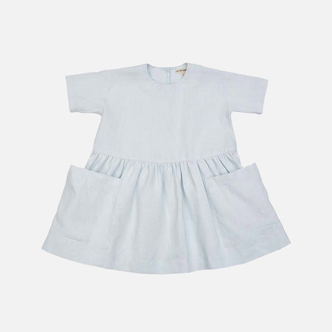 Linen SS Pocket Dress - Pale Mint