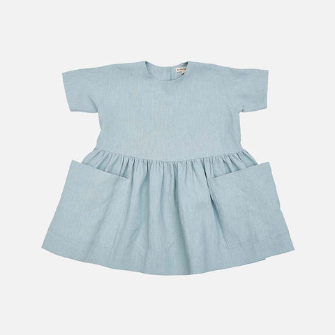 Linen SS Pocket Dress - Sage
