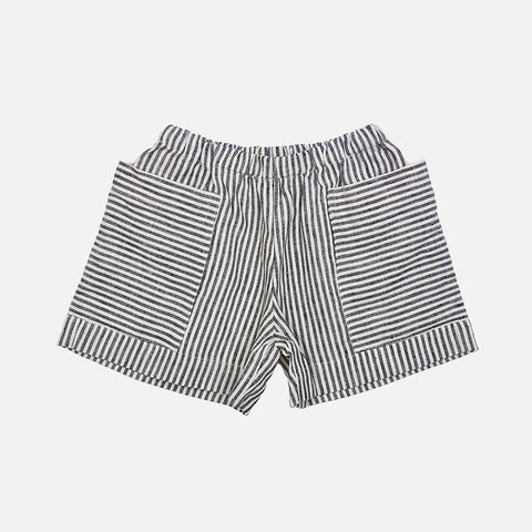 Linen Pocket Shorts - Grey Striped