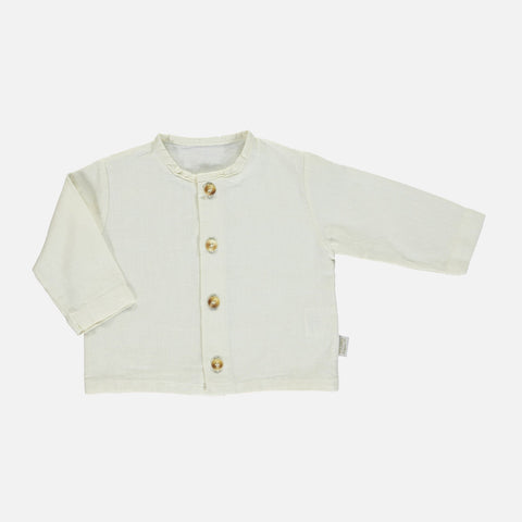Linen/Cotton Ronce Blouse - Almond Milk