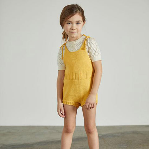 Cotton Hand Knit Tie Romper - Sunflower