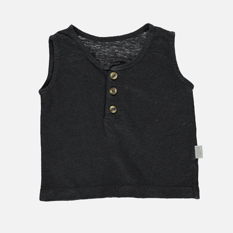 Linen Sureau Sleeveless Top - Pirate Black