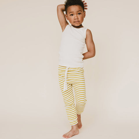 Organic Cotton Leggings - Chartreuse Stripe