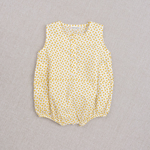 Cotton Kumar Baby Romper - Yellow Print