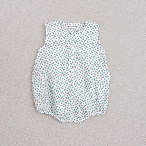 Cotton Kumar Baby Romper - Teal Print