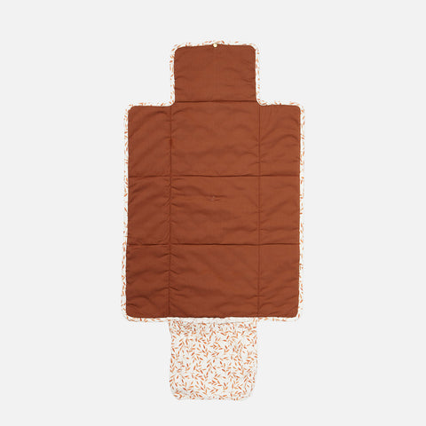 Organic Cotton Quilted Changing Mat - Caramel Leaves
