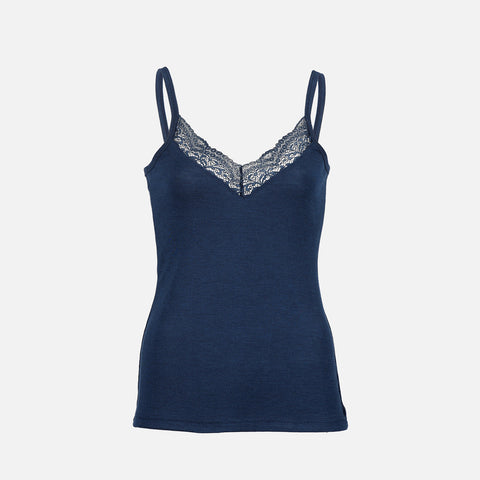 Organic Silk/Merino Women's Strappy Lace Vest - Navy Blue