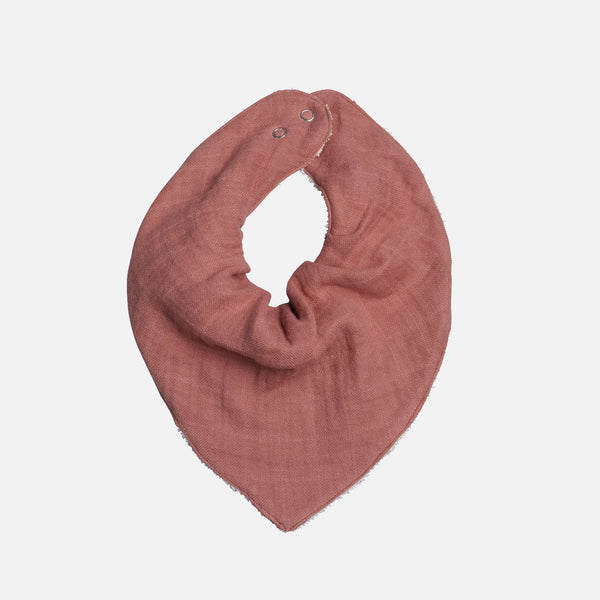 Organic Cotton Muslin/Terry Bandana Bib - Clay