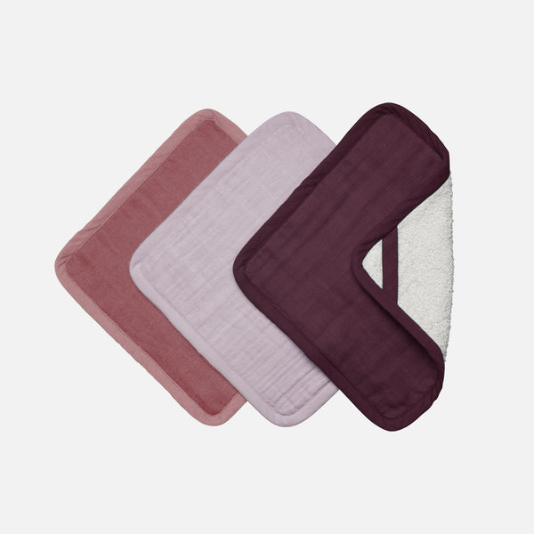 Organic Cotton Terry Washcloth set - Berry