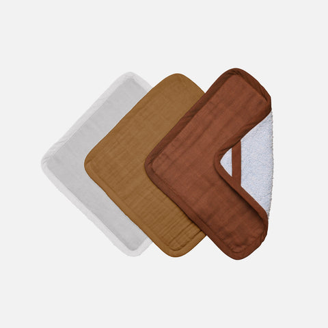 Organic Cotton Terry Washcloth set - Wood