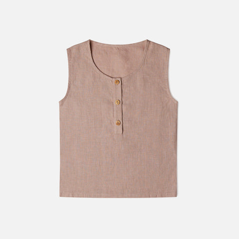 Linen Fawn Top - Dusty Rose