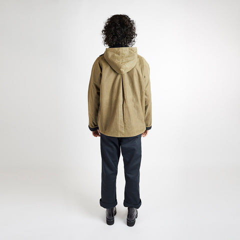 Waxed Cotton Batwing Jacket - Sand/Black
