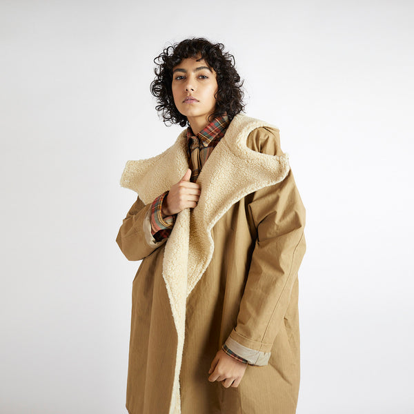 Waxed Cotton Batwing Coat - Tan Grid/Sherpa