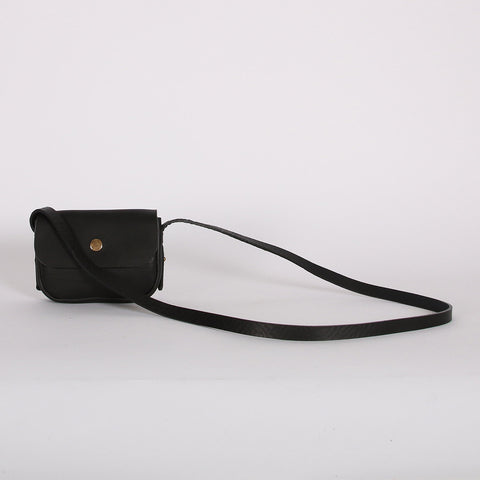 Leather Mini Pop Bag - Black