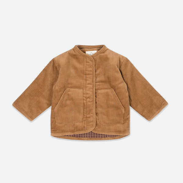 Organic Cotton Quilted Jacket - Faded Brown