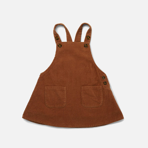 Organic Cotton Corduroy Spencer Dress - Faded Brown