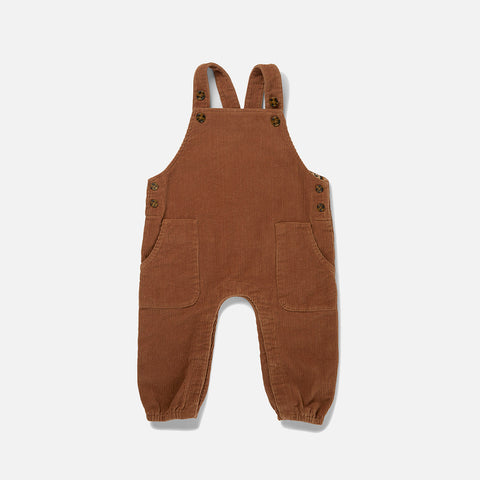Organic Cotton Corduroy Spencer Overall - Faded Brown