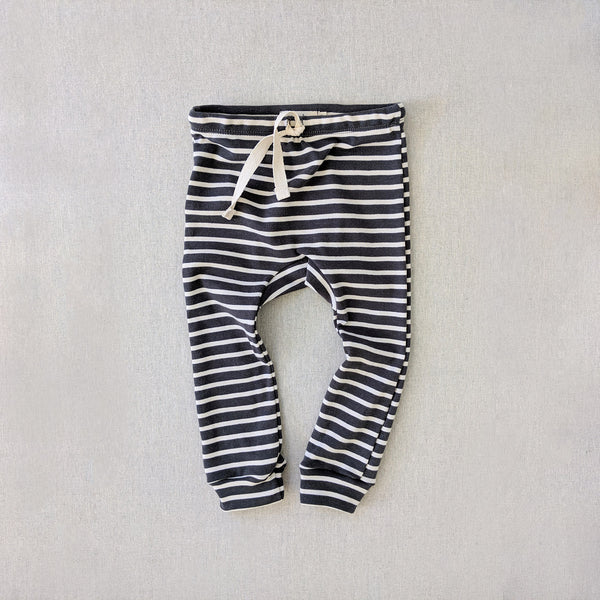 Organic Cotton Leggings - Charcoal/Natural Stripe