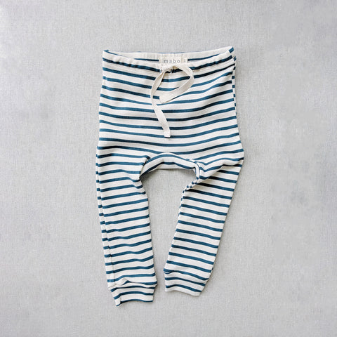 Organic Cotton Leggings - Azure Stripe