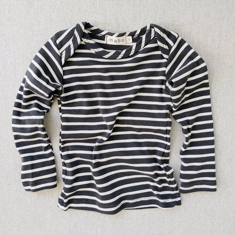 Organic Cotton LS Tee - Charcoal/Natural Stripe