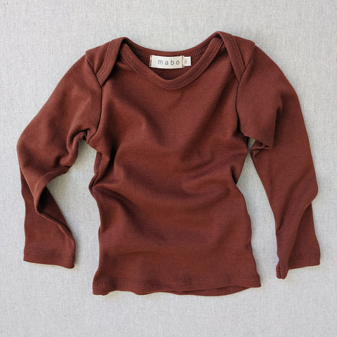 Organic Cotton LS Lap Tee - Chestnut