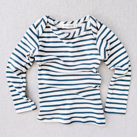 Organic Cotton LS Tee - Azure Stripe