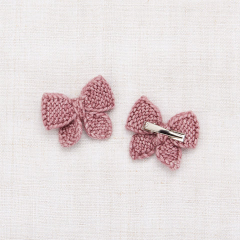 Hand Knit Baby Puff Bow Set - Antique Rose