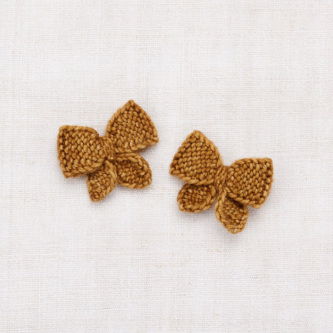 Hand Knit Baby Puff Bow Set - Bronze