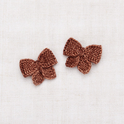 Hand Knit Baby Puff Bow Set - Chestnut